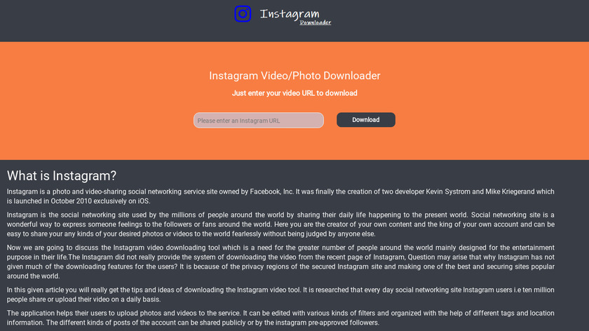 Instagram Photo Downloader Landing Page