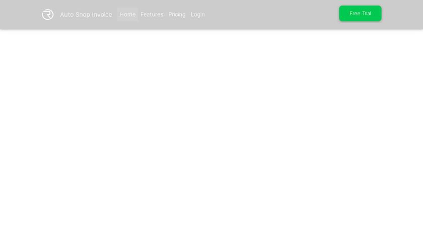 Autoshopinvoice.com Landing Page