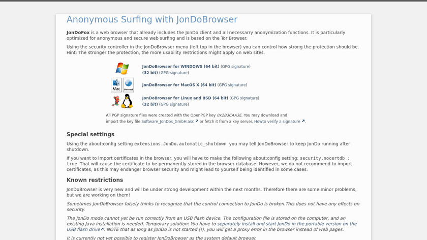 JonDoFox Landing Page