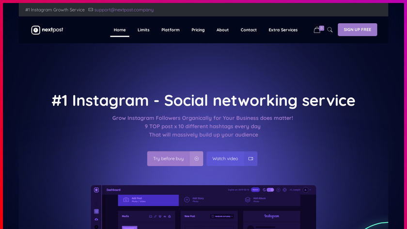 Nextpost Instagram Landing Page