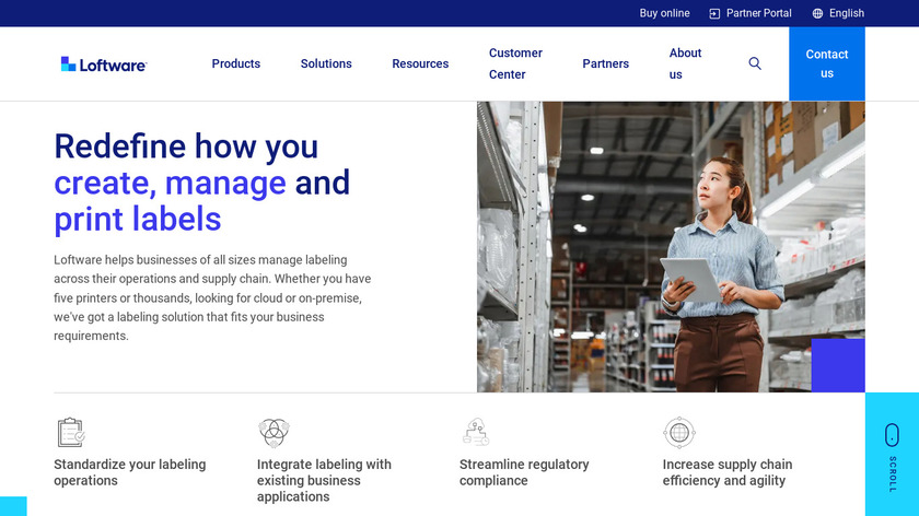 Loftware Enterprise Labeling Solutins Landing Page