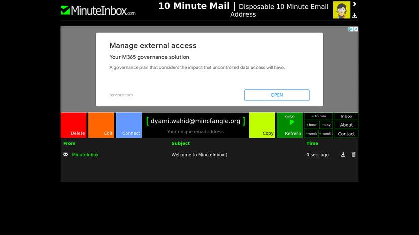 MinuteInbox Landing Page