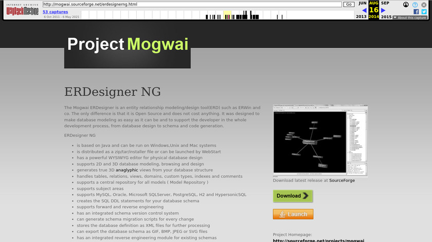 Mogwai ERDesigner Landing Page