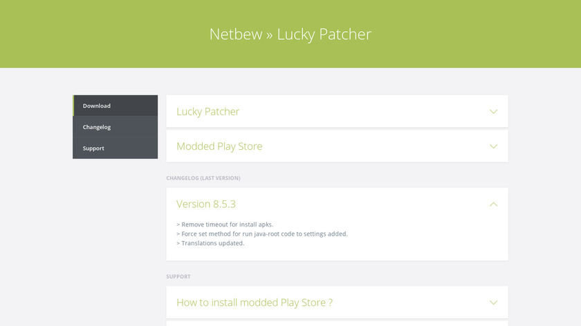 Lucky Patcher Landing Page