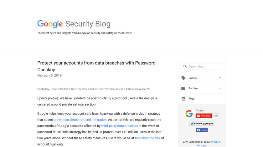 Password Checkup Landing Page