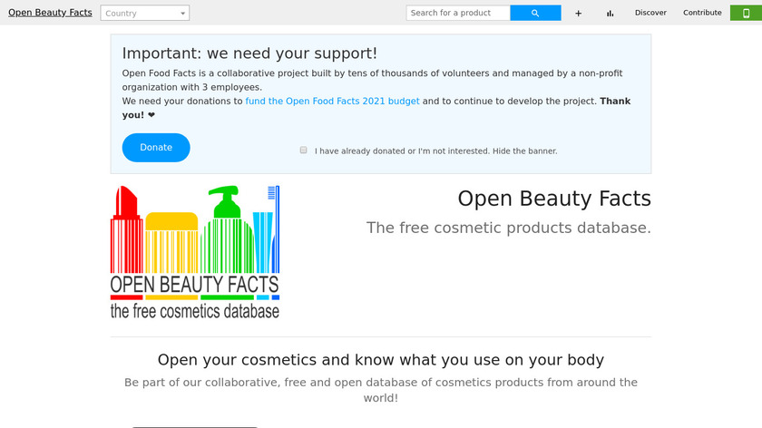Open Beauty Facts Landing Page