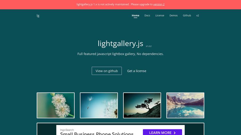 lightgallery.js Landing Page