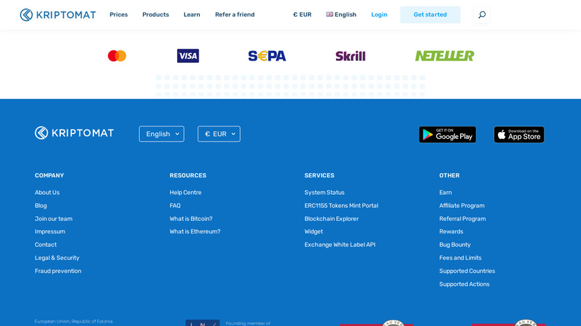 Kriptomat Landing Page
