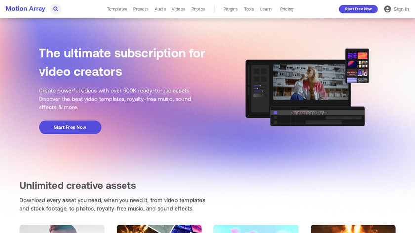 MotionArray.com Landing Page