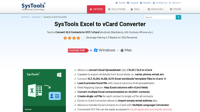 SysTools Excel to vCard Converter Landing Page