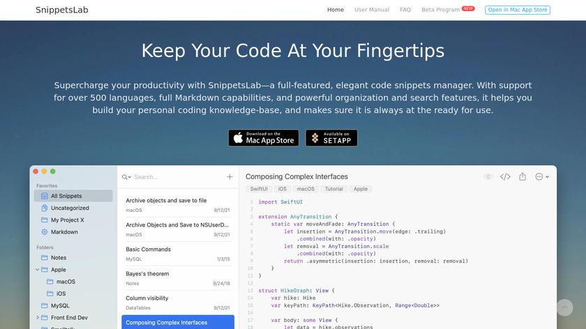 SnippetsLab Landing Page