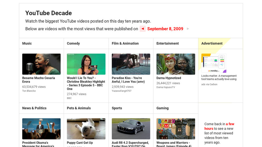 YouTube Decade Landing Page