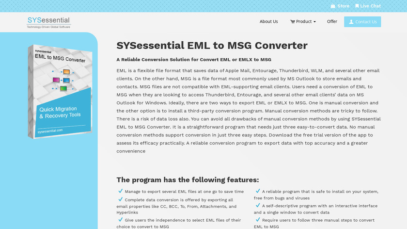 SYSessential EML to MSG Converter Landing Page