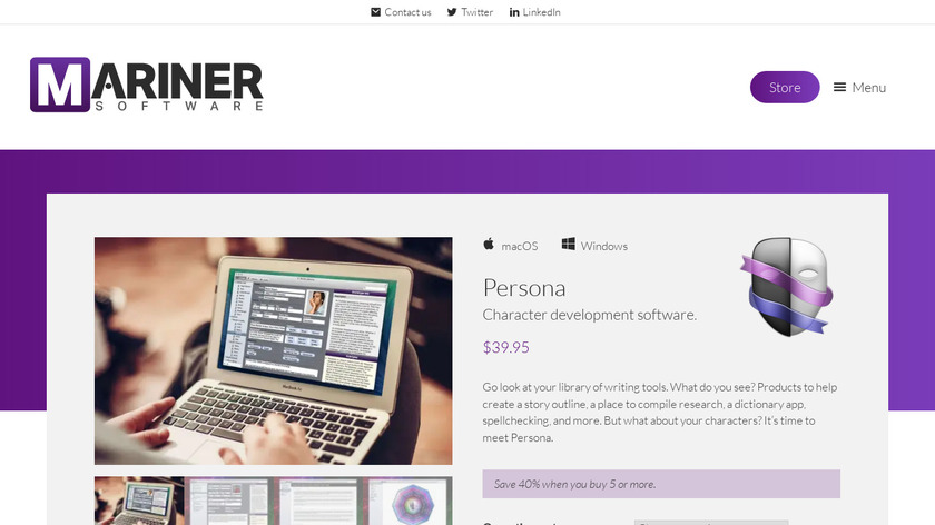 Persona by Mariner Software Landing Page