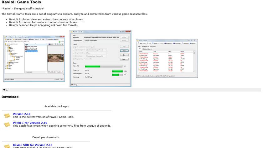 Ravioli Game Tools Landing Page