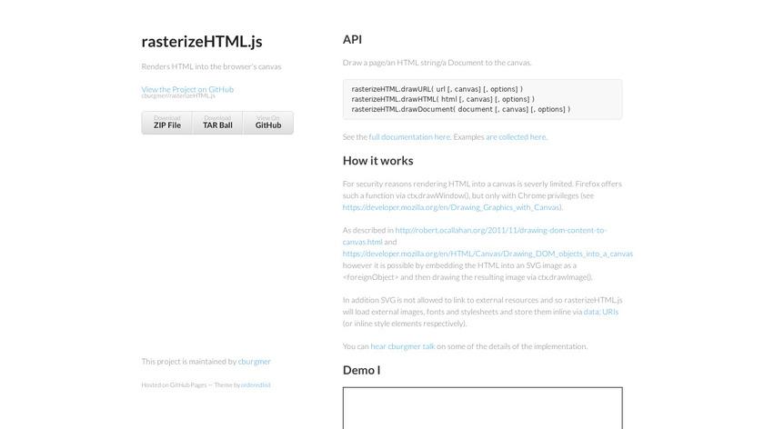 RasterizeHTML.js Landing Page