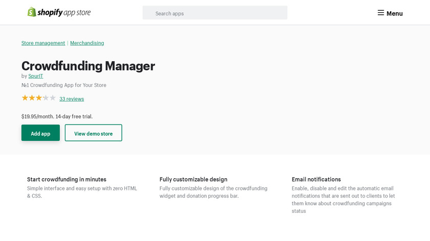 Shopify Crowdfunding Manager App Landing Page