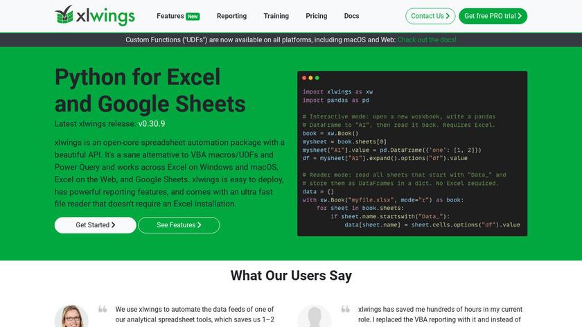 xlwings Landing Page