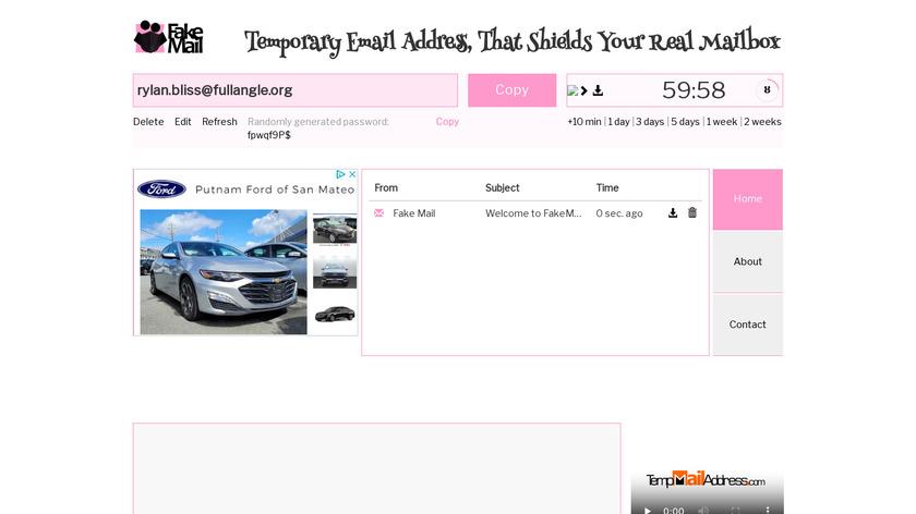 TempMailAddress Landing Page