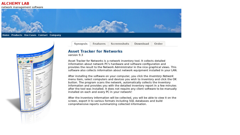 Alchemy Lab Asset Tracker Landing Page