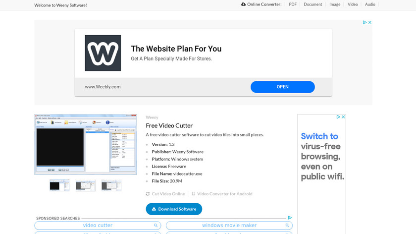 Weeny Free Video Cutter Landing Page