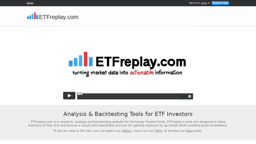 ETFreplay.com Landing Page