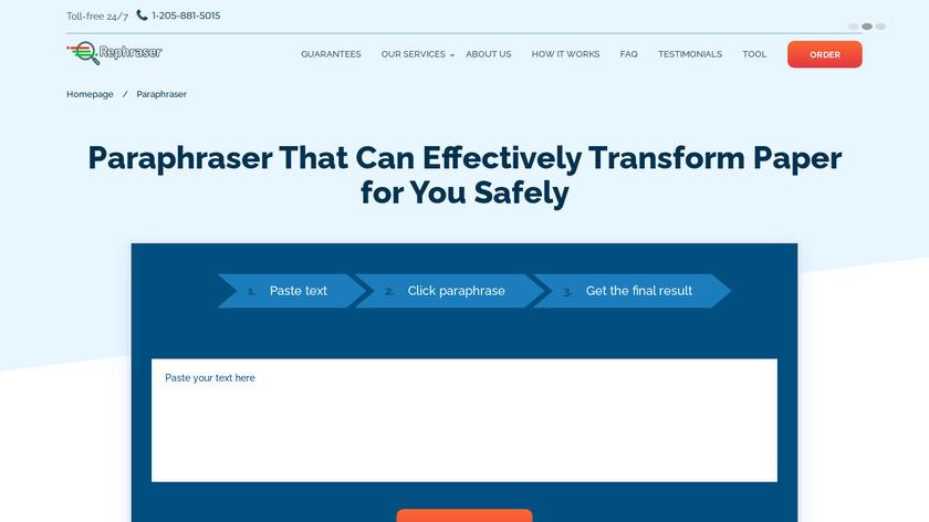 Fast Online Paraphraser Landing Page