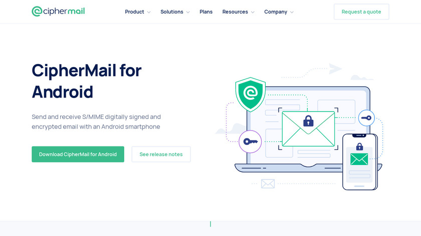 Ciphermail for Android Landing Page