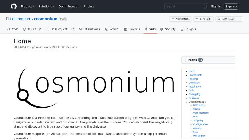 Cosmonium Landing Page