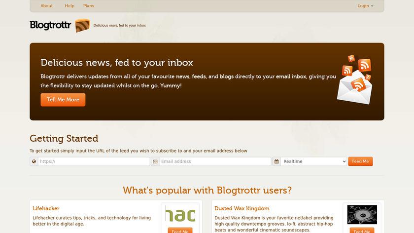 Blogtrottr Landing Page