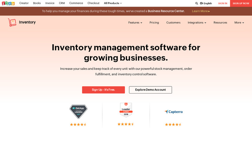 Zoho Inventory Landing Page