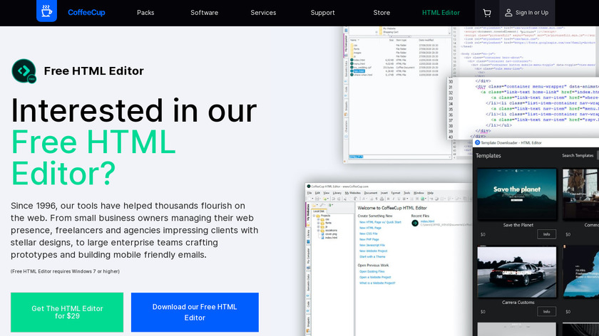 CoffeeCup HTML Editor Landing Page