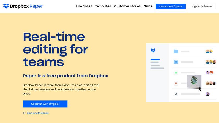 Dropbox Paper Landing Page