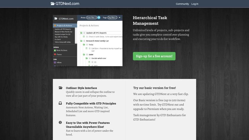 GTDNext Landing Page