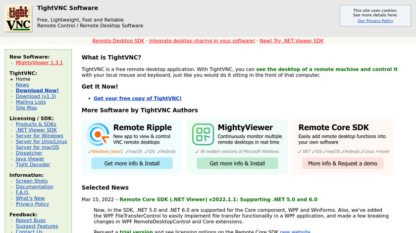 TightVNC Landing Page