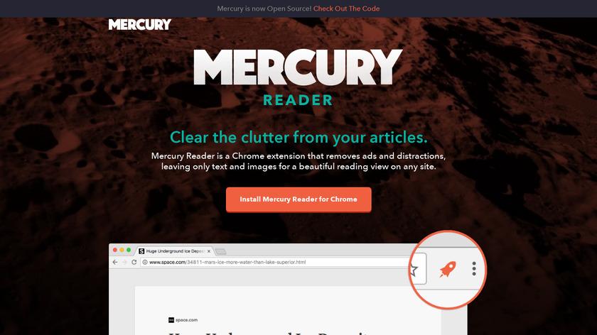 Mercury Reader Landing Page