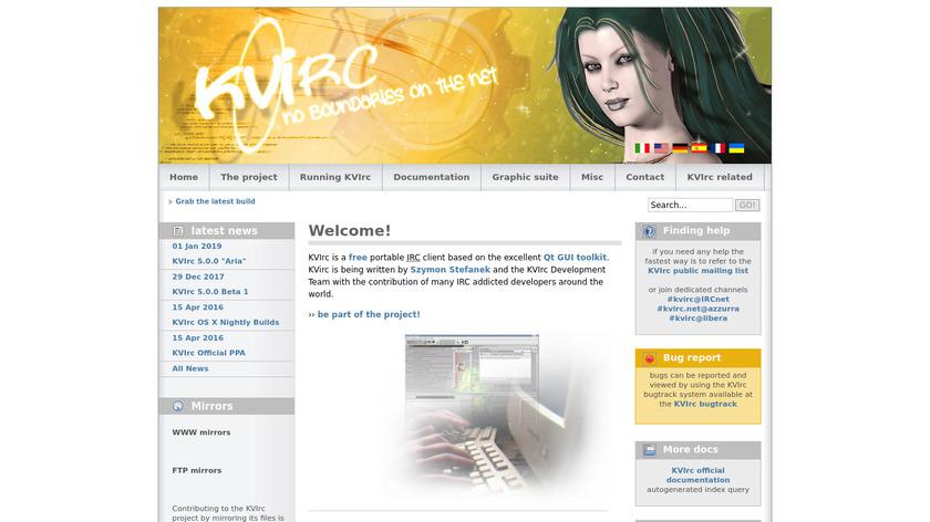 KVIrc Landing Page