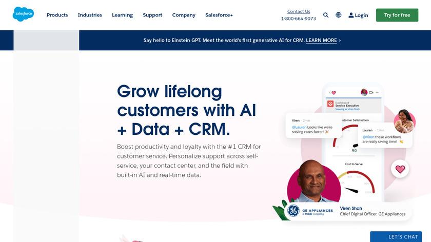 Salesforce Service Cloud Landing Page