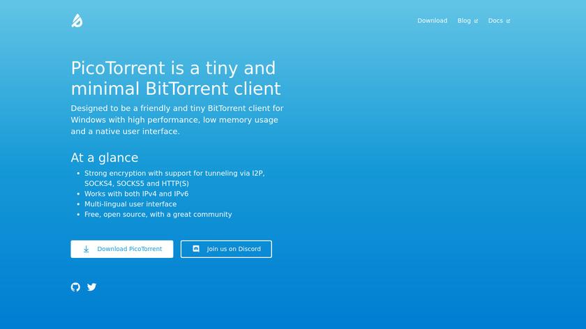 PicoTorrent Landing Page