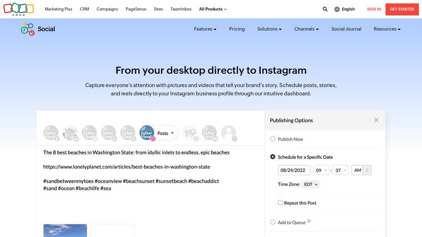 Zoho Social Landing Page