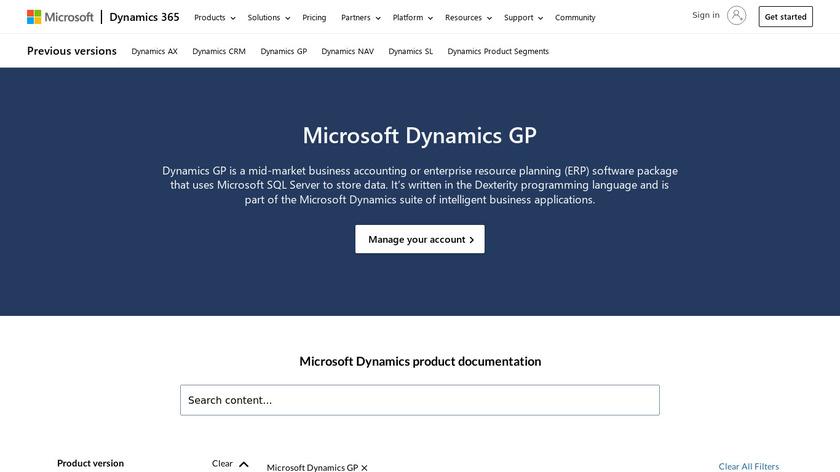 Microsoft Dynamics GP Landing Page