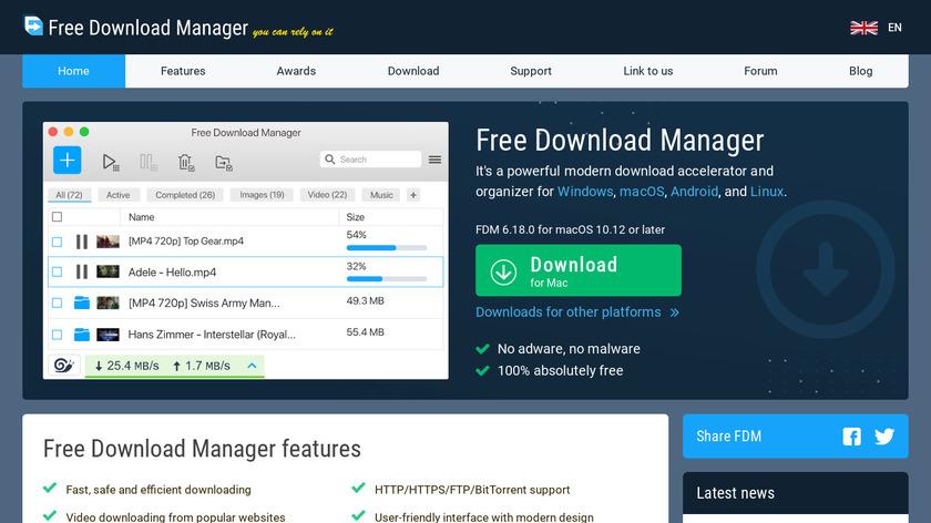 Free Download Manager Landing Page