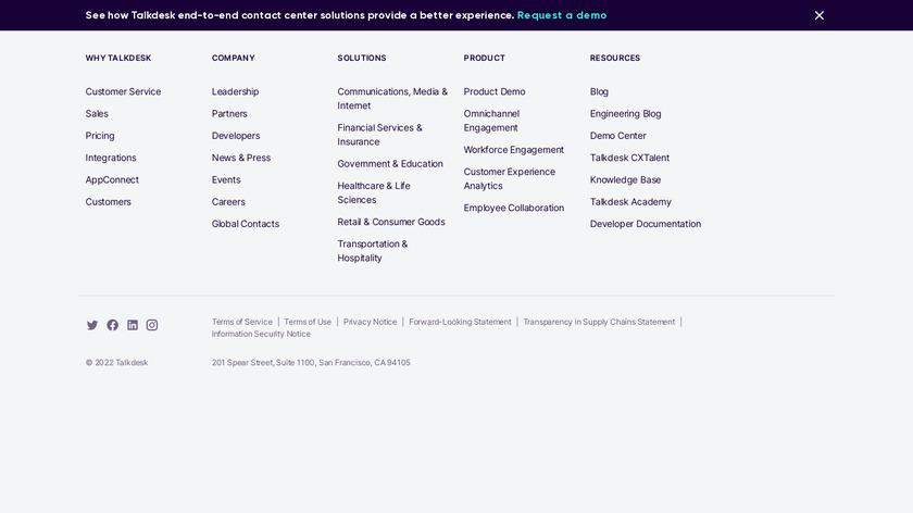 Talkdesk Landing Page