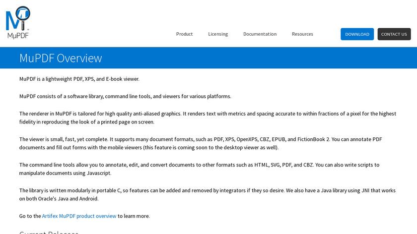 MuPDF Landing Page
