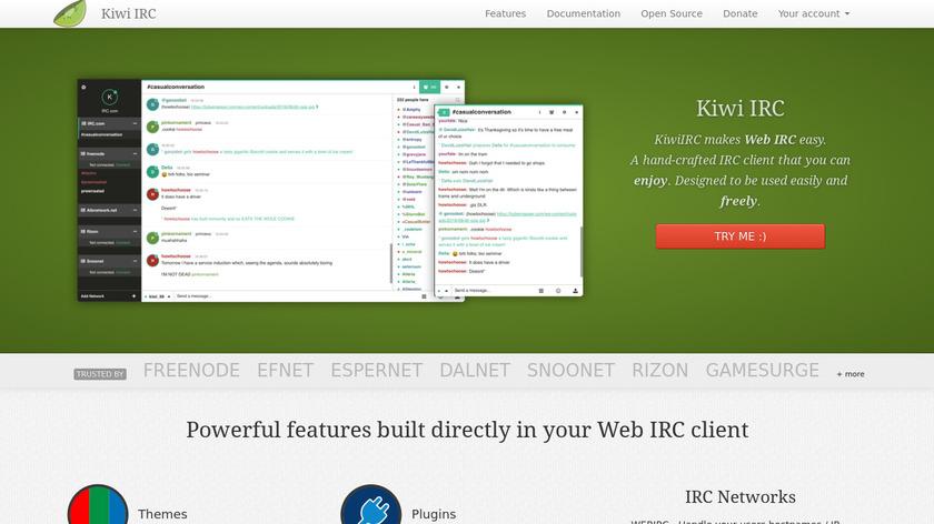 Kiwi IRC Landing Page
