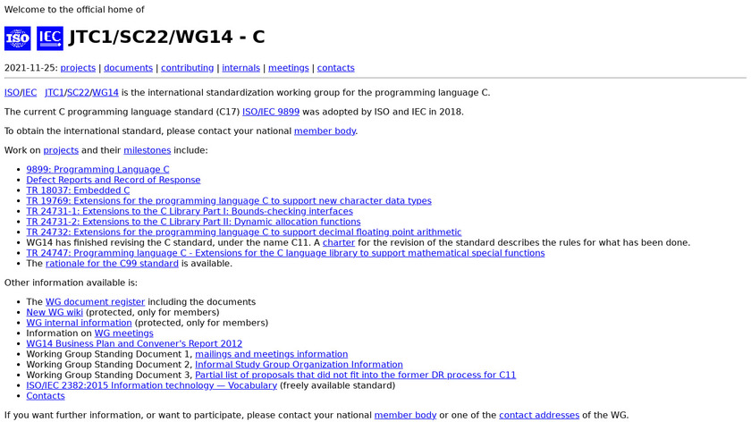 C (programming language) Landing Page