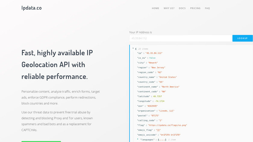ipdata.co Landing Page