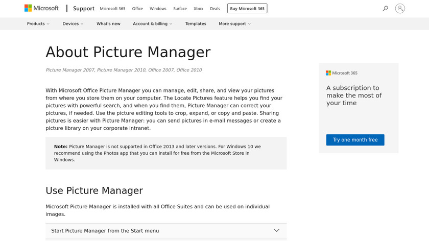 Microsoft Office Picture Manager Landing Page