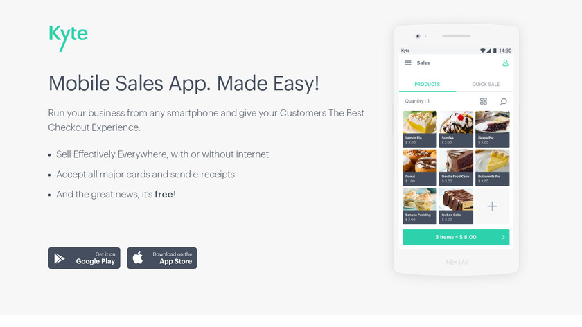Kyte Point of Sale Landing Page