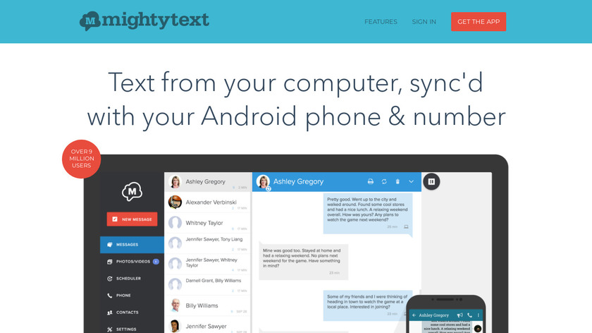 Mightytext Landing Page